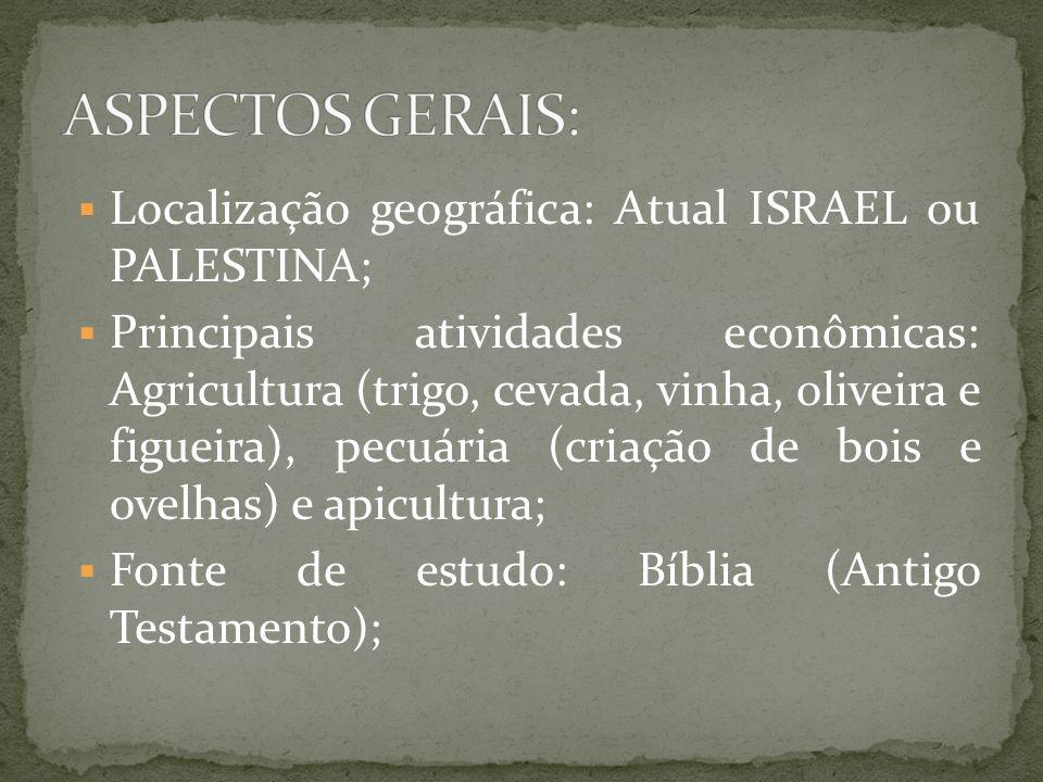 ASPECTOS GERAIS: Localização geográfica: Atual ISRAEL ou PALESTINA;