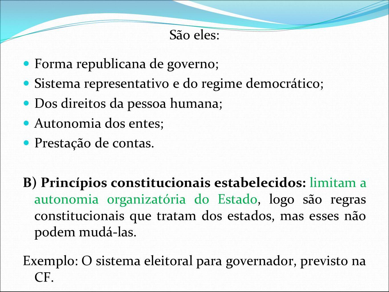 São eles:Forma republicana de governo; Sistema representativo e do regime democrático; Dos direitos da pessoa humana;