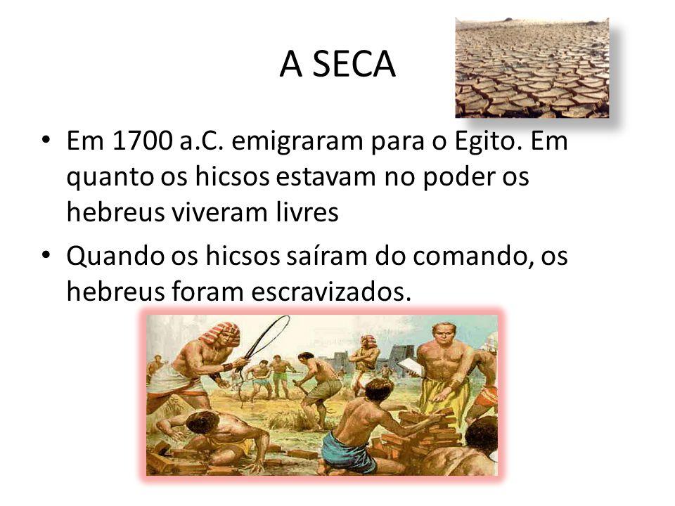 A SECA Em 1700 a.C. emigraram para o Egito. Em quanto os hicsos estavam no poder os hebreus viveram livres.