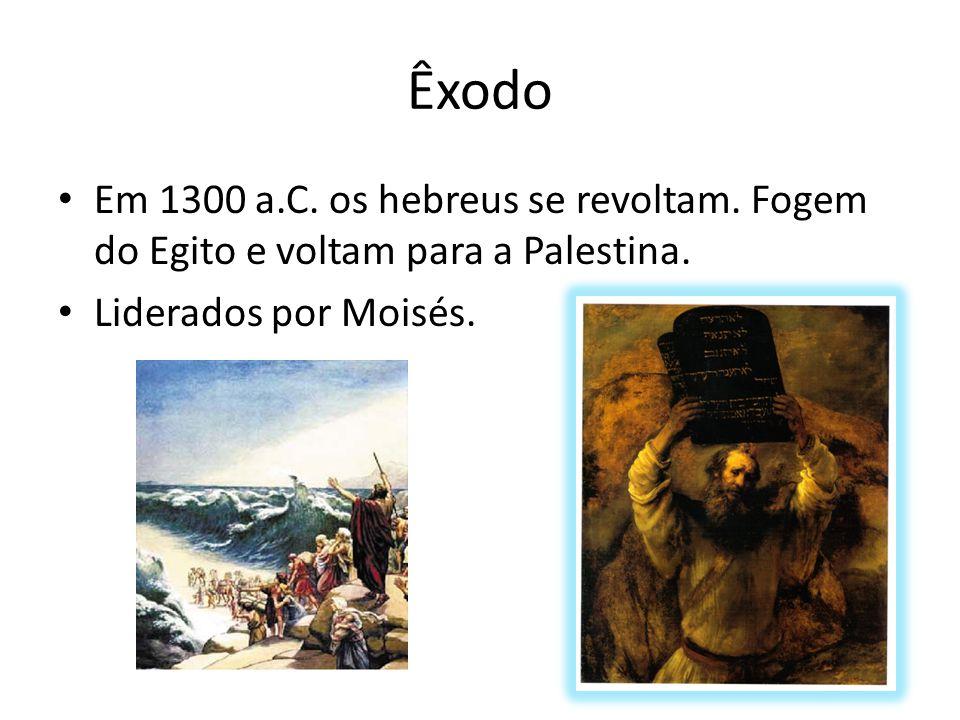 Êxodo Em 1300 a.C. os hebreus se revoltam. Fogem do Egito e voltam para a Palestina.