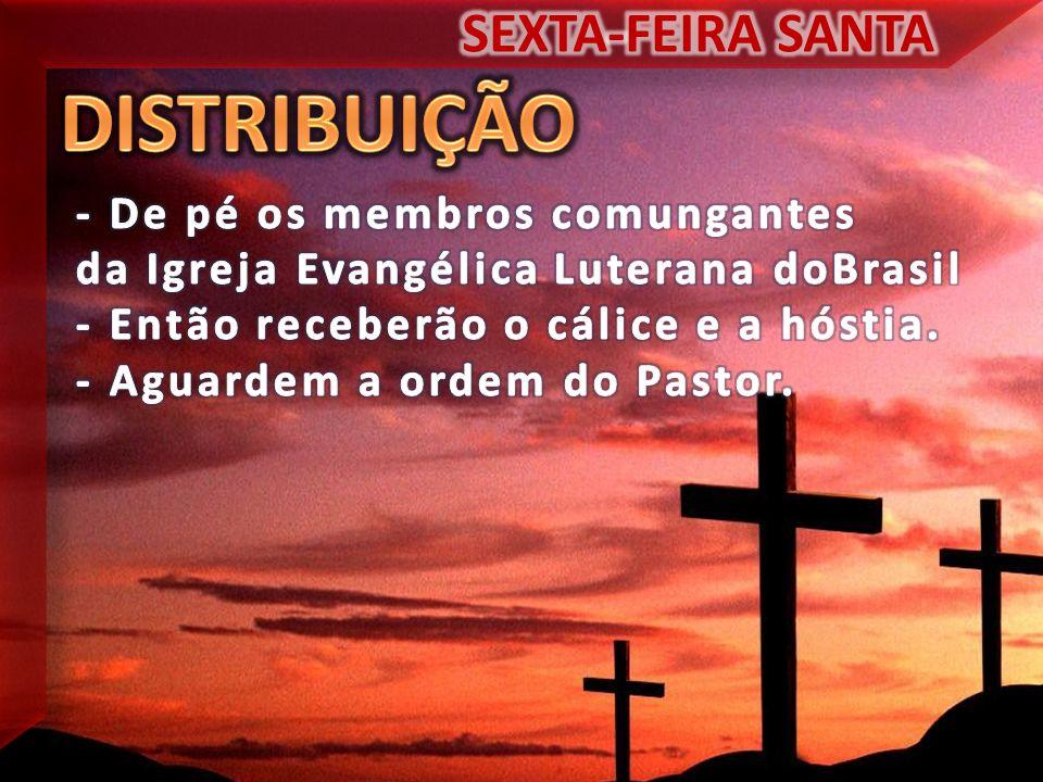 DISTRIBUIÇÃO SEXTA-FEIRA SANTA - De pé os membros comungantes