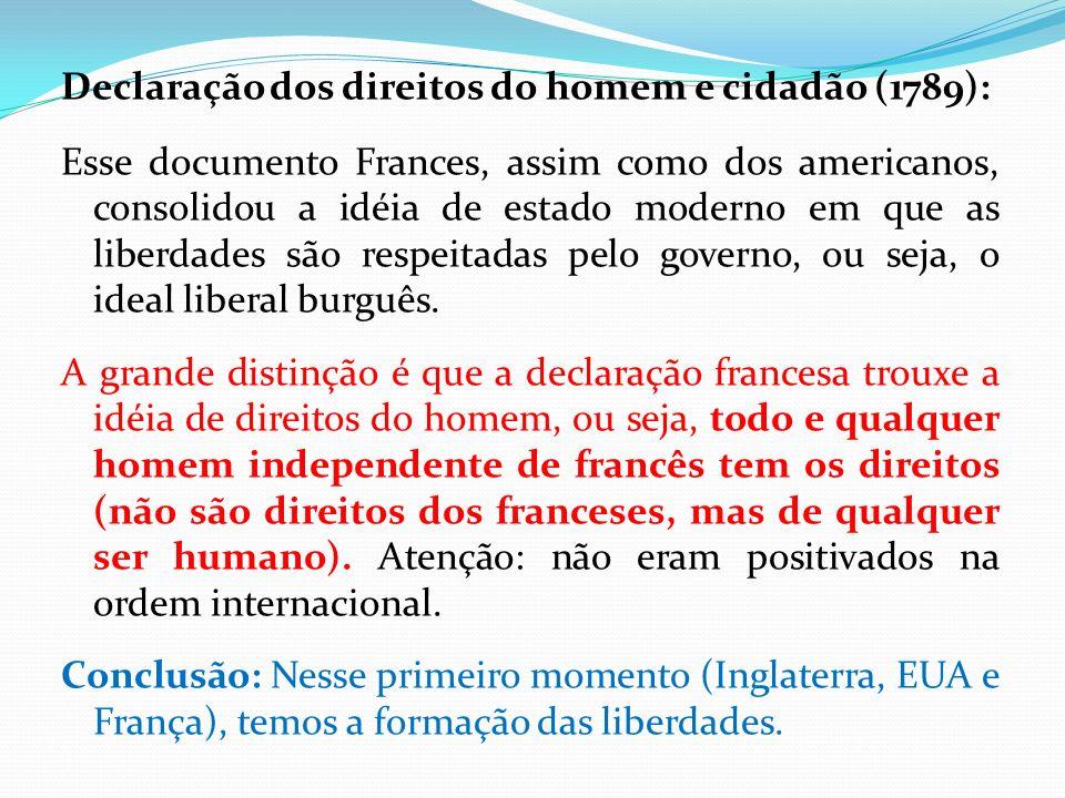 Declaração dos direitos do homem e cidadão (1789): Esse documento Frances, assim como dos americanos, consolidou a idéia de estado moderno em que as liberdades são respeitadas pelo governo, ou seja, o ideal liberal burguês.