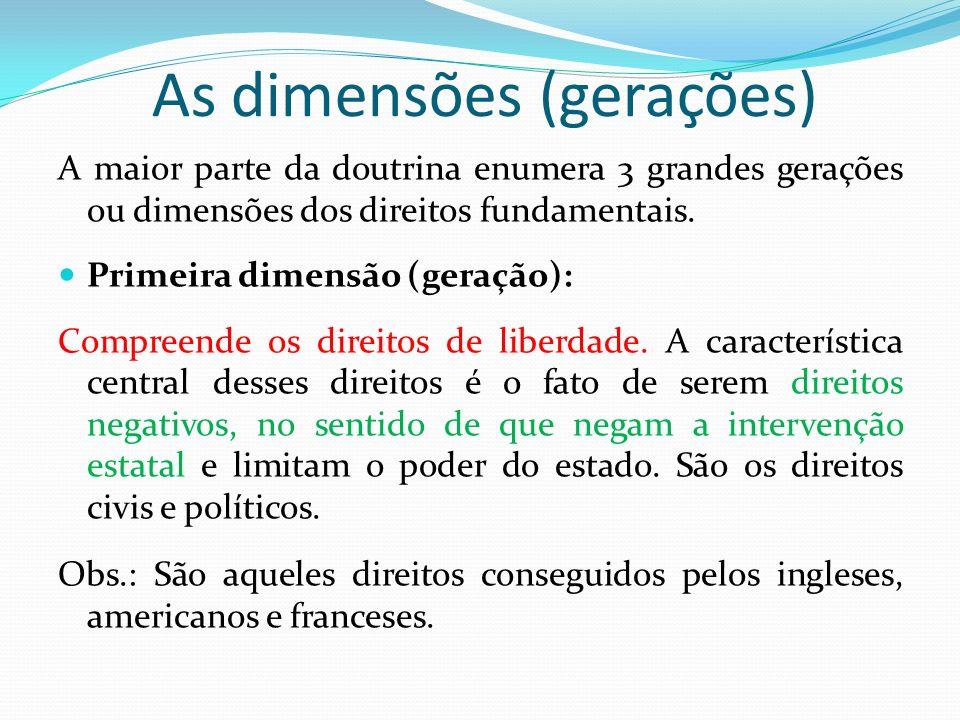 As dimensões (gerações)