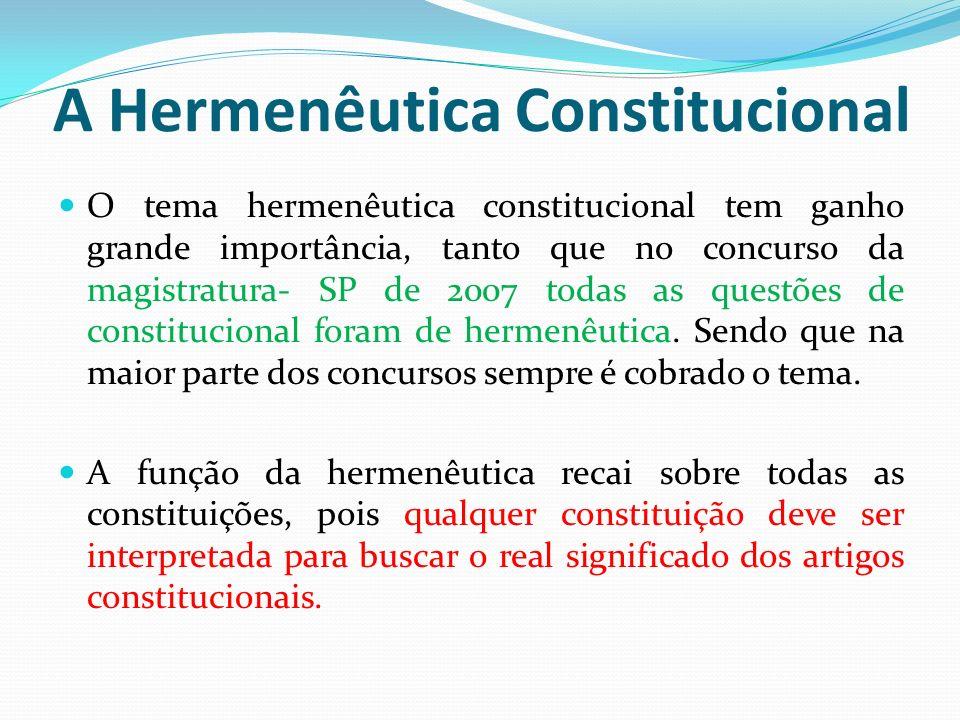 A Hermenêutica Constitucional