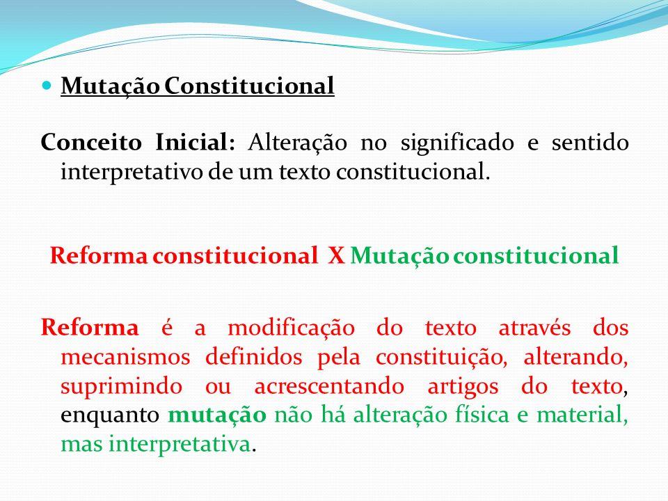 Reforma constitucional X Mutação constitucional