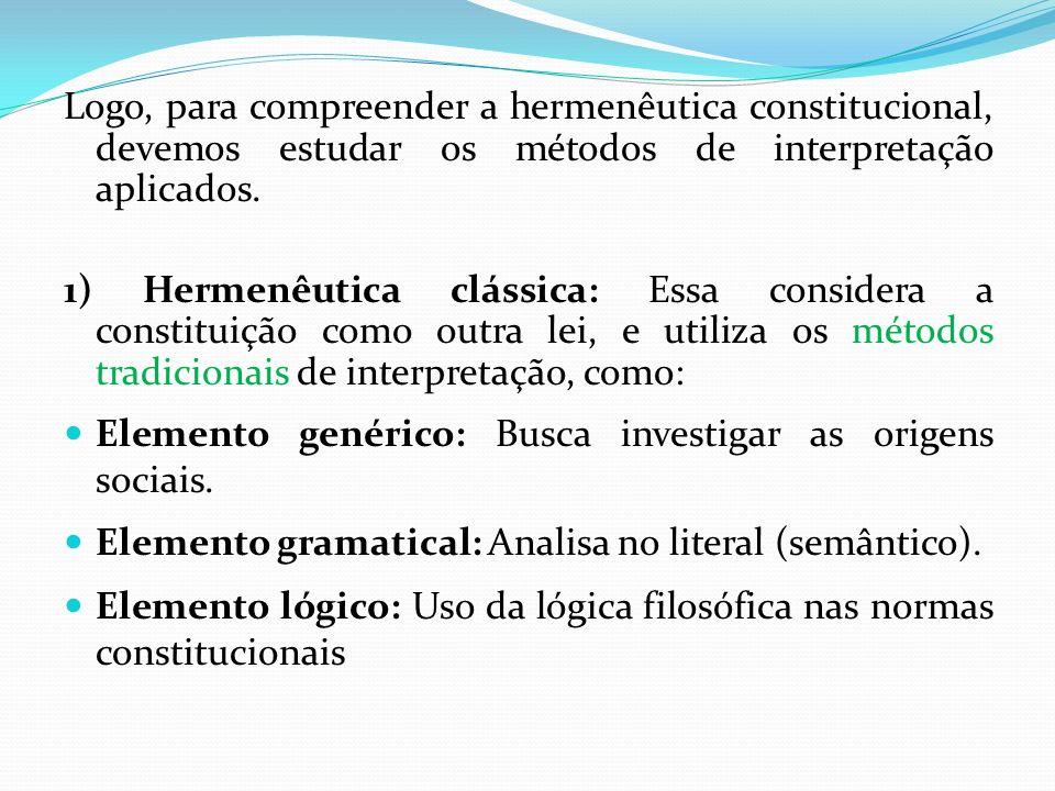 Logo, para compreender a hermenêutica constitucional, devemos estudar os métodos de interpretação aplicados.