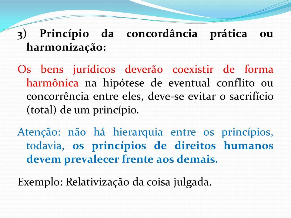 3) Princípio da concordância prática ou harmonização: