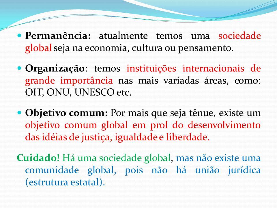 Permanência: atualmente temos uma sociedade global seja na economia, cultura ou pensamento.