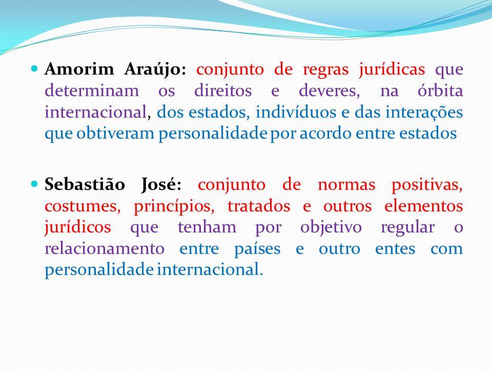 Amorim Araújo: conjunto de regras jurídicas que determinam os direitos e deveres, na órbita internacional, dos estados, indivíduos e das interações que obtiveram personalidade por acordo entre estados