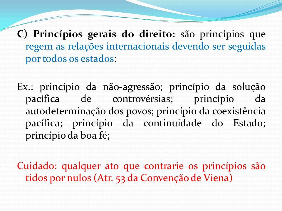 C) Princípios gerais do direito: são princípios que regem as relações internacionais devendo ser seguidas por todos os estados: