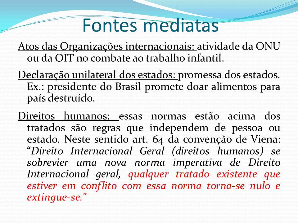 Fontes mediatas Atos das Organizações internacionais: atividade da ONU ou da OIT no combate ao trabalho infantil.