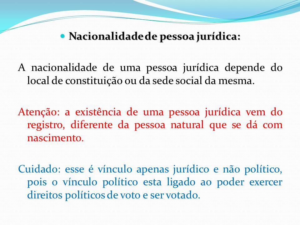 Nacionalidade de pessoa jurídica: