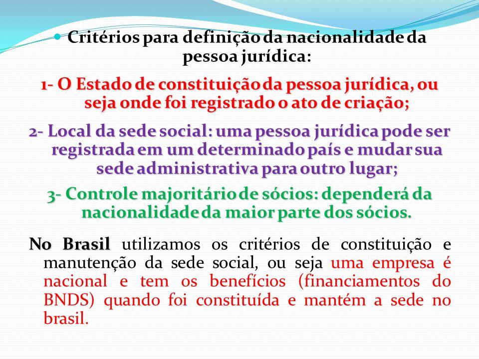 Critérios para definição da nacionalidade da pessoa jurídica:
