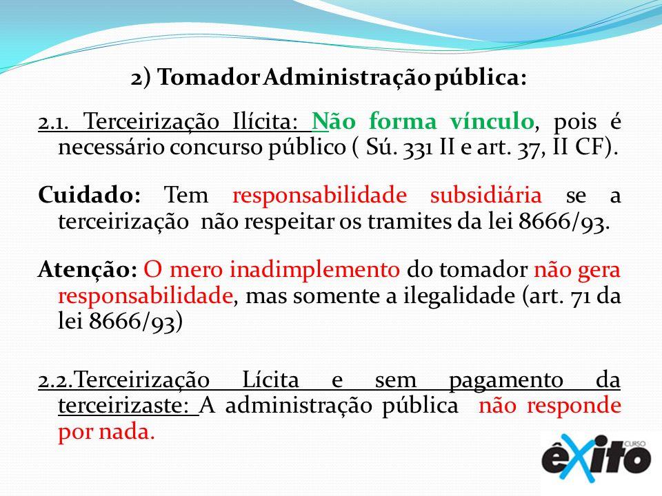 2) Tomador Administração pública: 2. 1