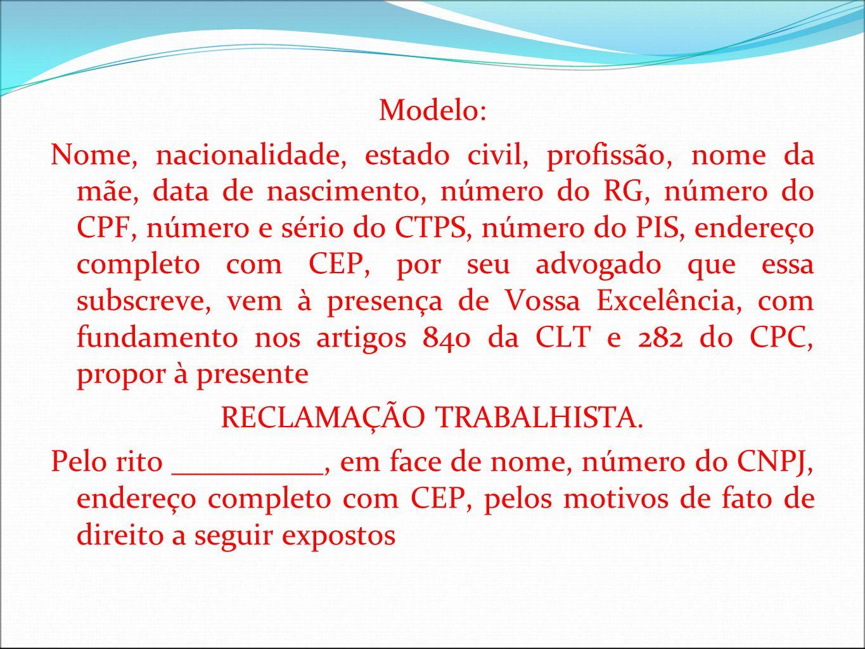 RECLAMAÇÃO TRABALHISTA.