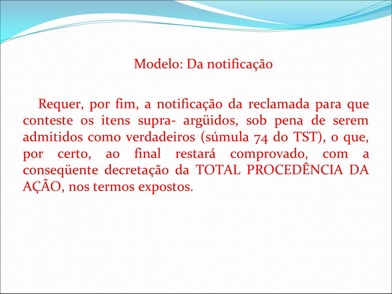 Modelo: Da notificação