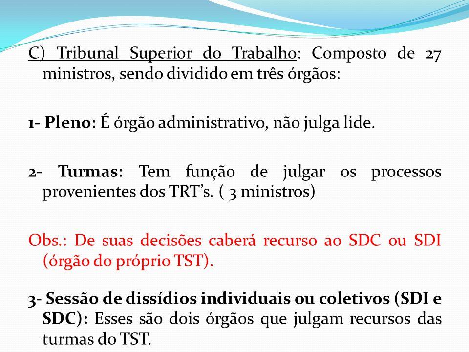 C) Tribunal Superior do Trabalho: Composto de 27 ministros, sendo dividido em três órgãos: