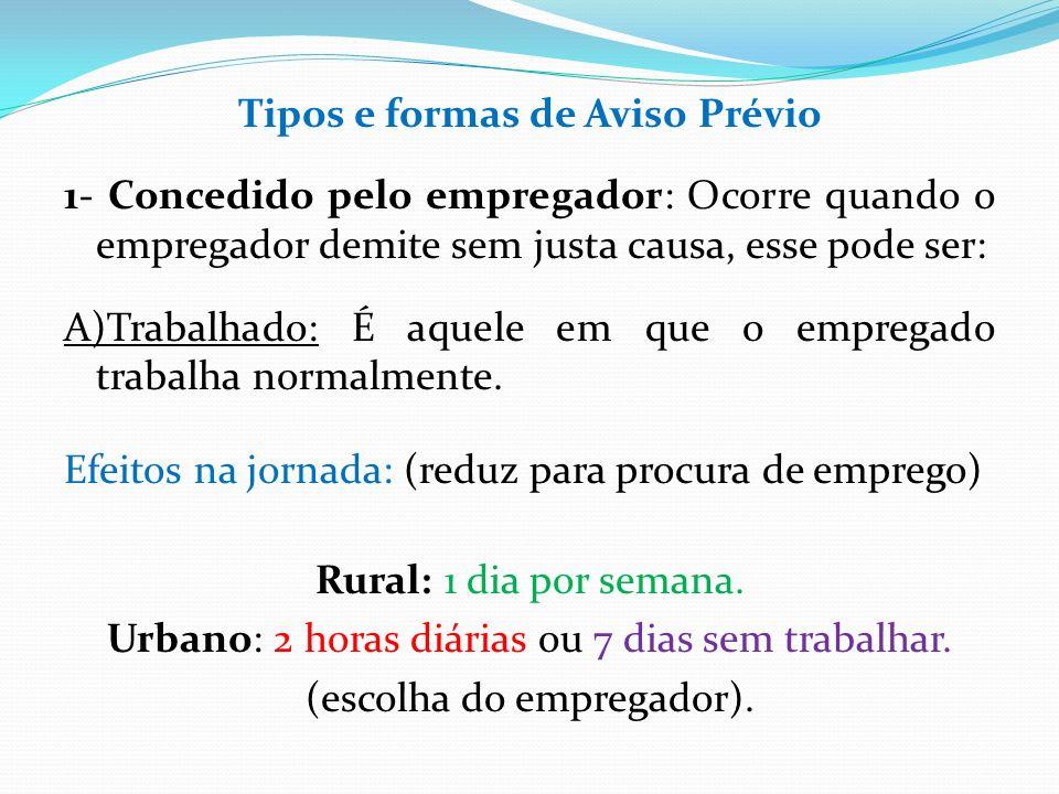 Tipos e formas de Aviso Prévio 1- Concedido pelo empregador: Ocorre quando o empregador demite sem justa causa, esse pode ser: A)Trabalhado: É aquele em que o empregado trabalha normalmente.