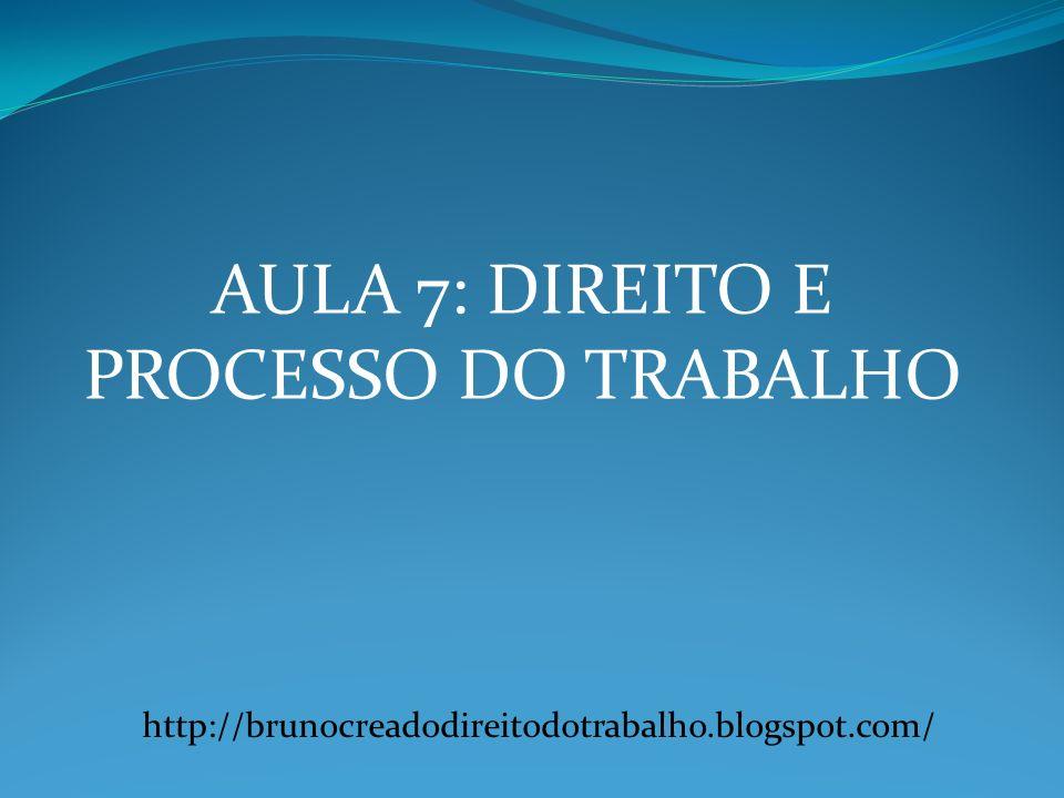 AULA 7: DIREITO E PROCESSO DO TRABALHO