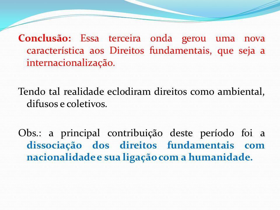Conclusão: Essa terceira onda gerou uma nova característica aos Direitos fundamentais, que seja a internacionalização.