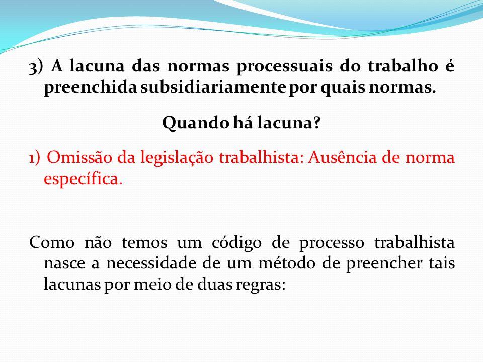 3) A lacuna das normas processuais do trabalho é preenchida subsidiariamente por quais normas.