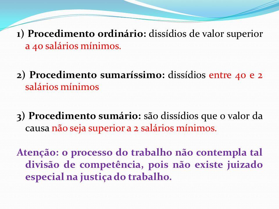 1) Procedimento ordinário: dissídios de valor superior a 40 salários mínimos.