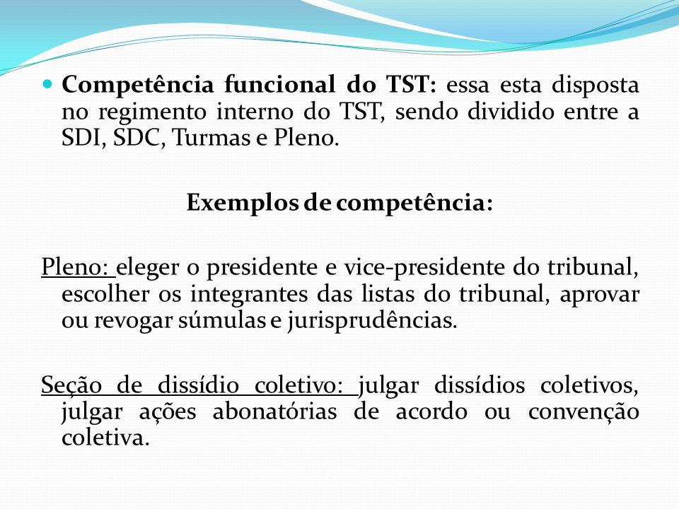 Exemplos de competência: