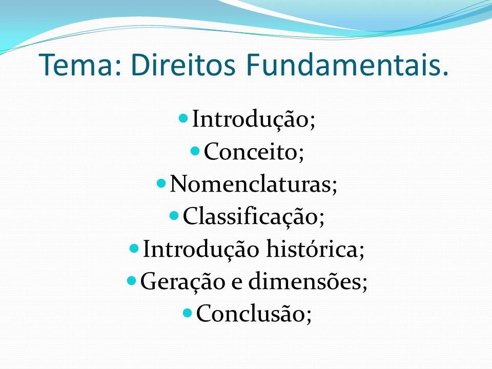 Tema: Direitos Fundamentais.