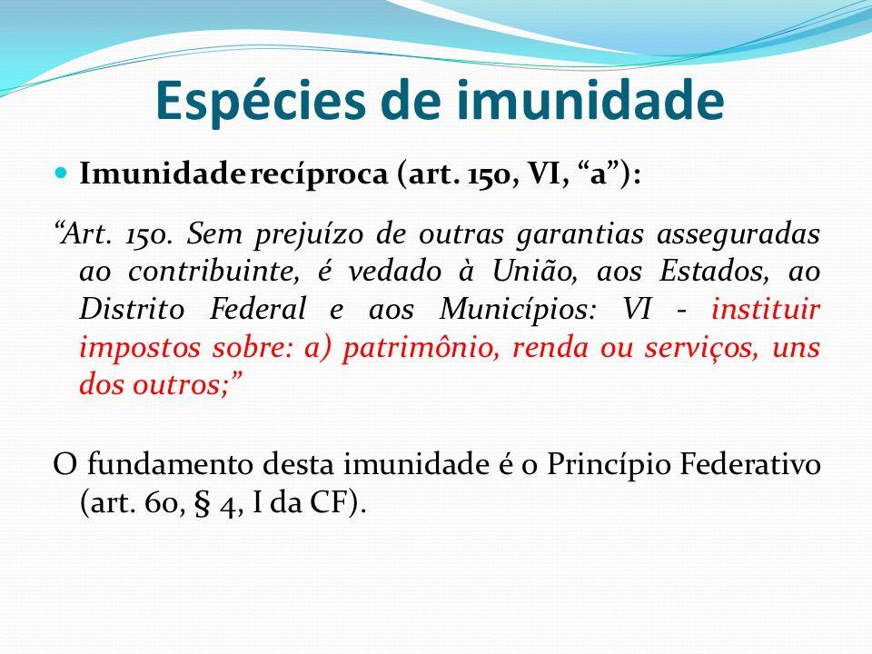 Espécies de imunidade Imunidade recíproca (art. 150, VI, a ):