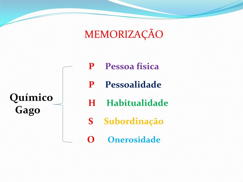 MEMORIZAÇÃO Químico Gago P Pessoa física P Pessoalidade