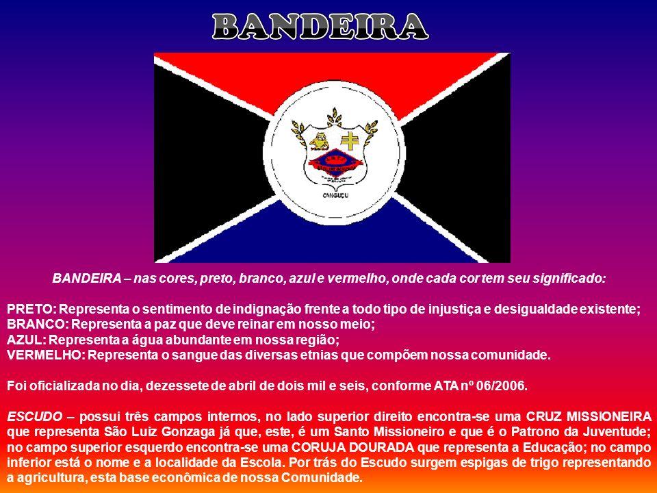 BANDEIRA – nas cores, preto, branco, azul e vermelho, onde cada cor tem seu significado: