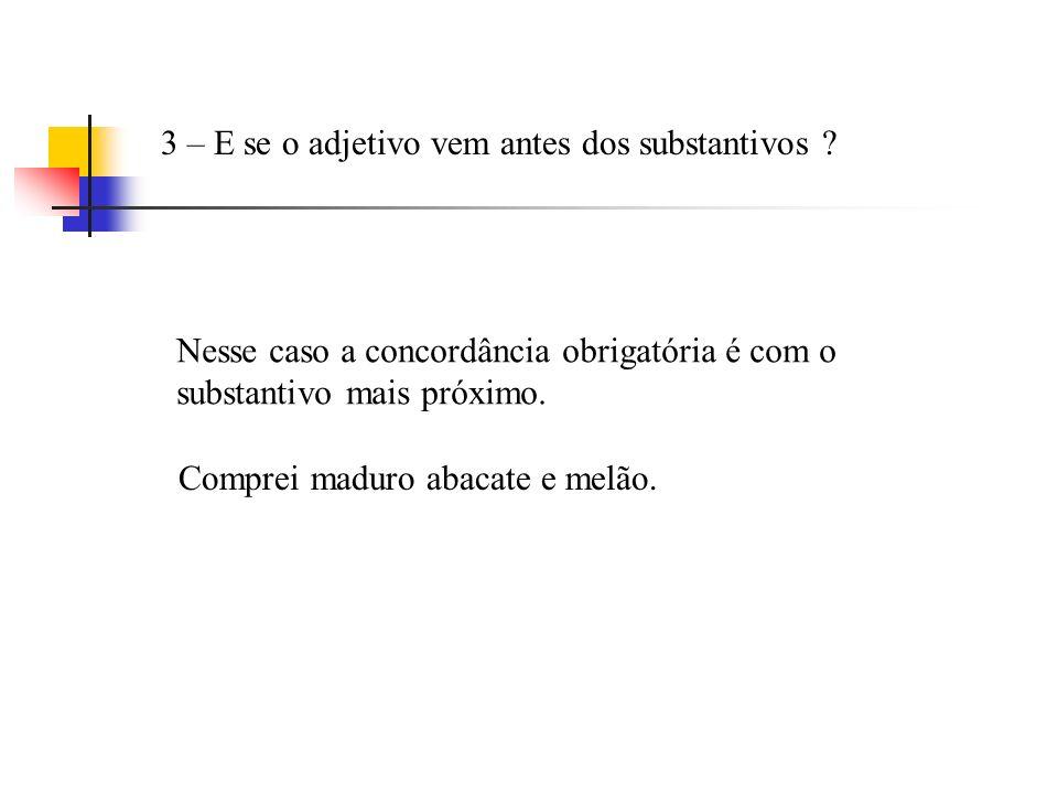 3 – E se o adjetivo vem antes dos substantivos