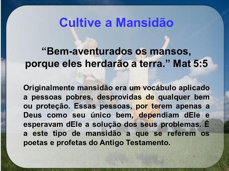 Bem-aventurados os mansos, porque eles herdarão a terra. Mat 5:5
