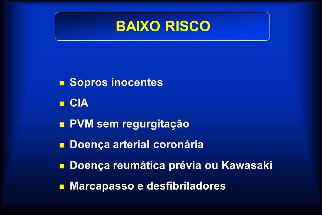 BAIXO RISCO Sopros inocentes CIA PVM sem regurgitação