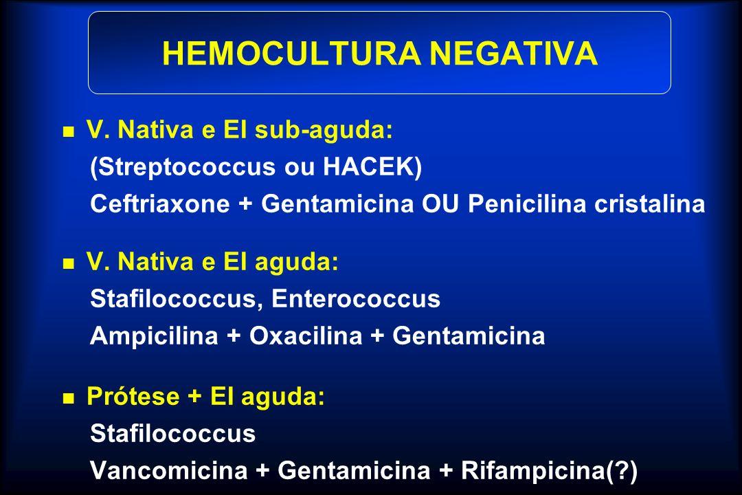 HEMOCULTURA NEGATIVA V. Nativa e EI sub-aguda: