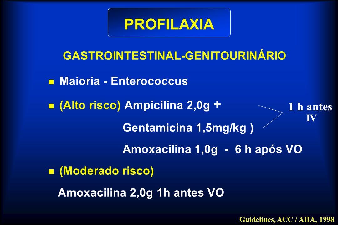 PROFILAXIA GASTROINTESTINAL-GENITOURINÁRIO Maioria - Enterococcus