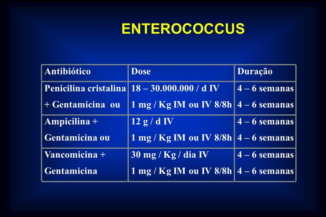 ENTEROCOCCUS Antibiótico Dose Duração Penicilina cristalina