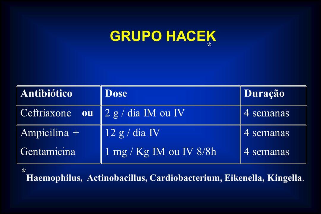GRUPO HACEK Antibiótico Dose Duração Ceftriaxone ou 2 g / dia IM ou IV