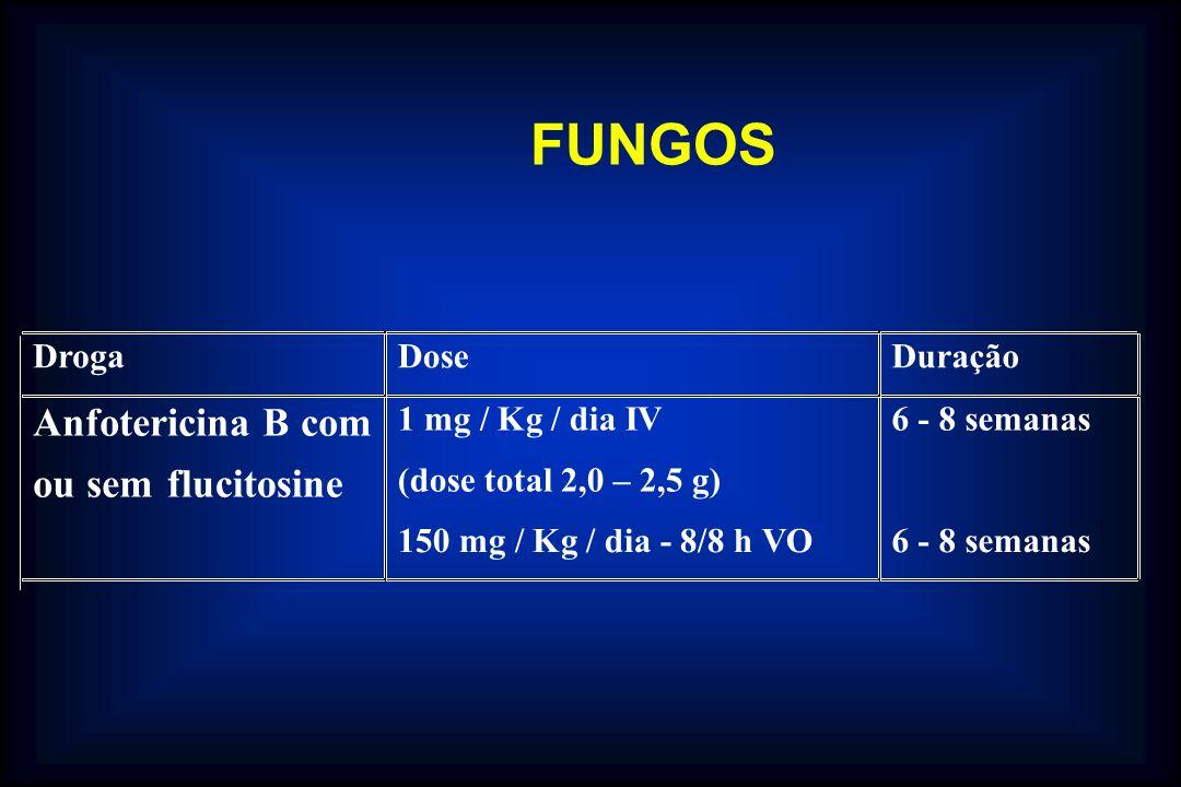 FUNGOS Anfotericina B com ou sem flucitosine Droga Dose Duração