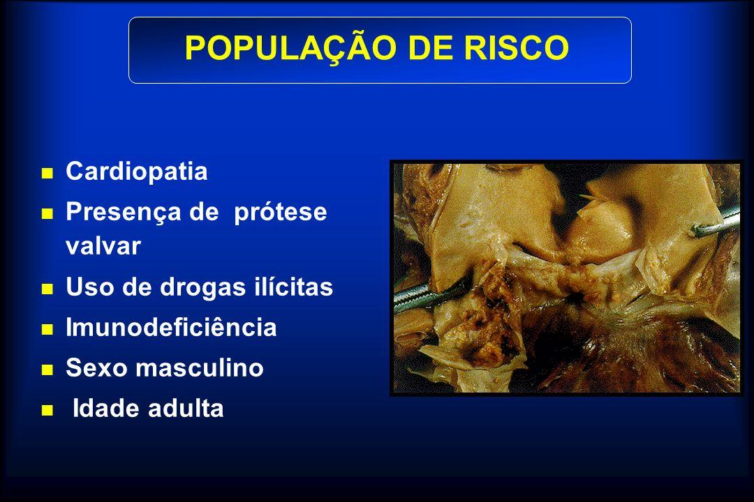 POPULAÇÃO DE RISCO Cardiopatia Presença de prótese valvar