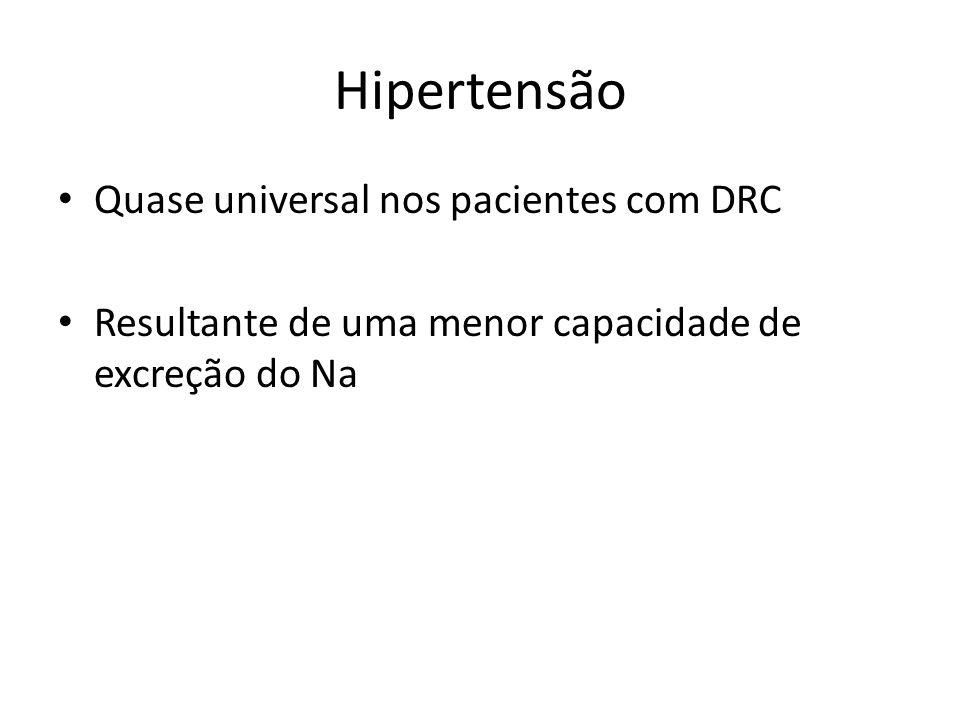 Hipertensão Quase universal nos pacientes com DRC