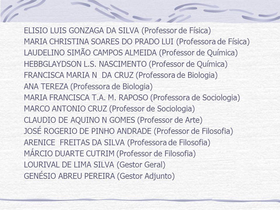 ELISIO LUIS GONZAGA DA SILVA (Professor de Física) MARIA CHRISTINA SOARES DO PRADO LUI (Professora de Física) LAUDELINO SIMÃO CAMPOS ALMEIDA (Professor de Química) HEBBGLAYDSON L.S.