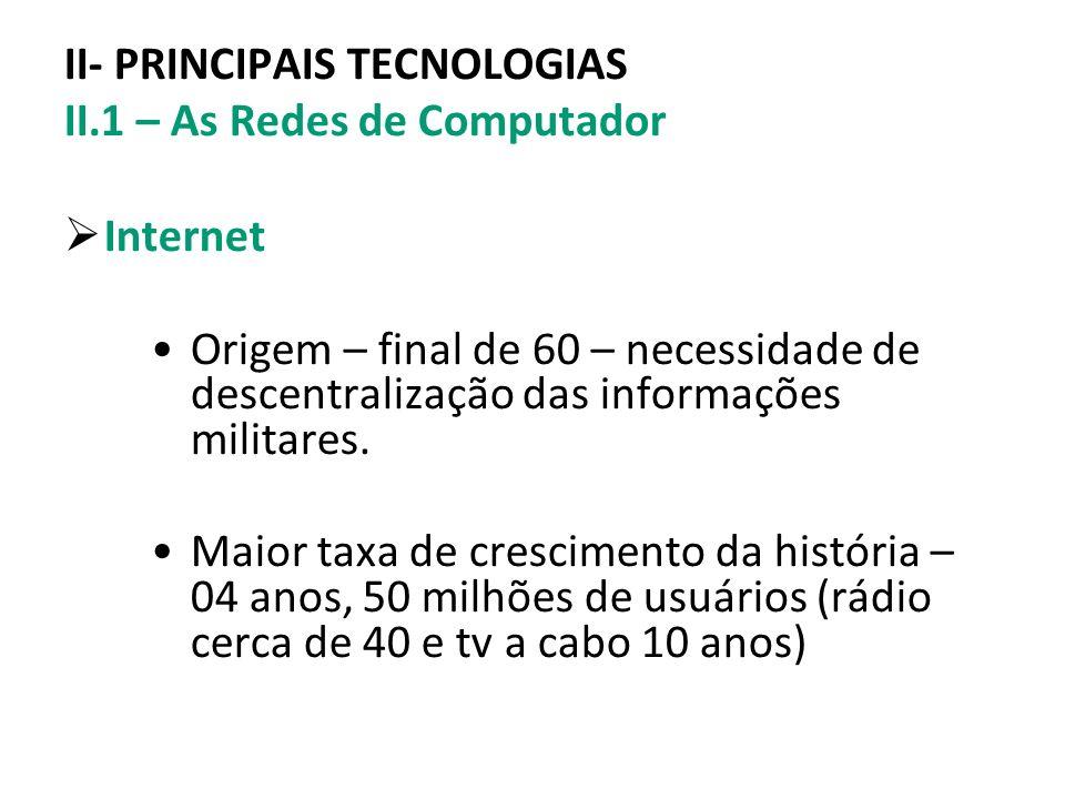 II- PRINCIPAIS TECNOLOGIAS