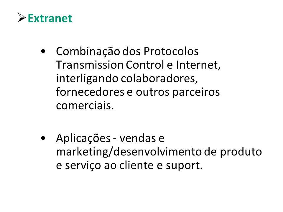 Extranet Combinação dos Protocolos Transmission Control e Internet, interligando colaboradores, fornecedores e outros parceiros comerciais.