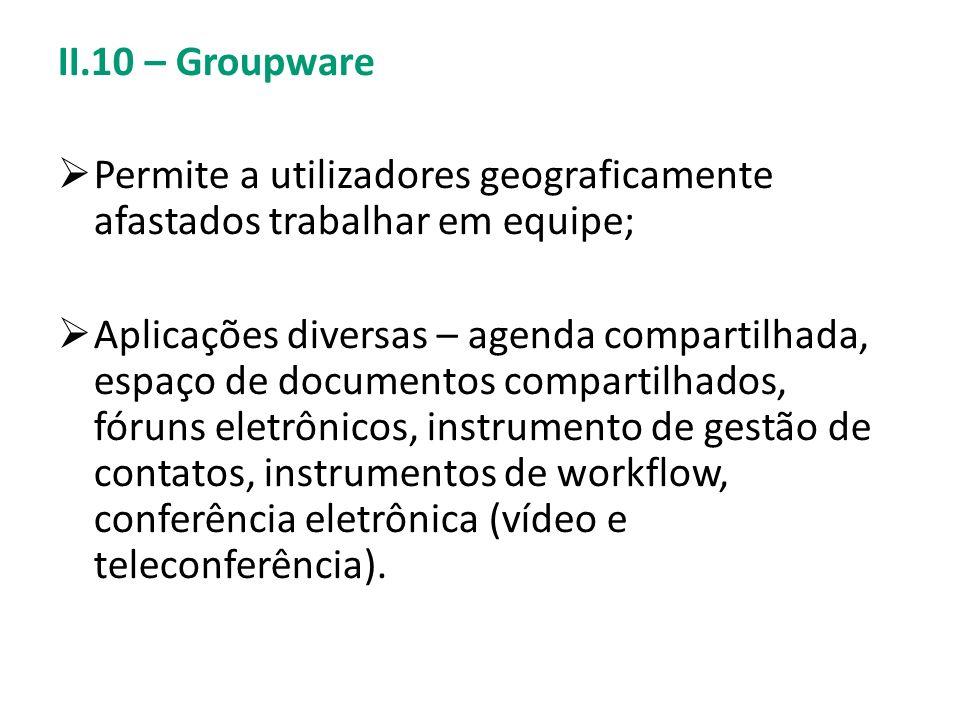 II.10 – Groupware Permite a utilizadores geograficamente afastados trabalhar em equipe;