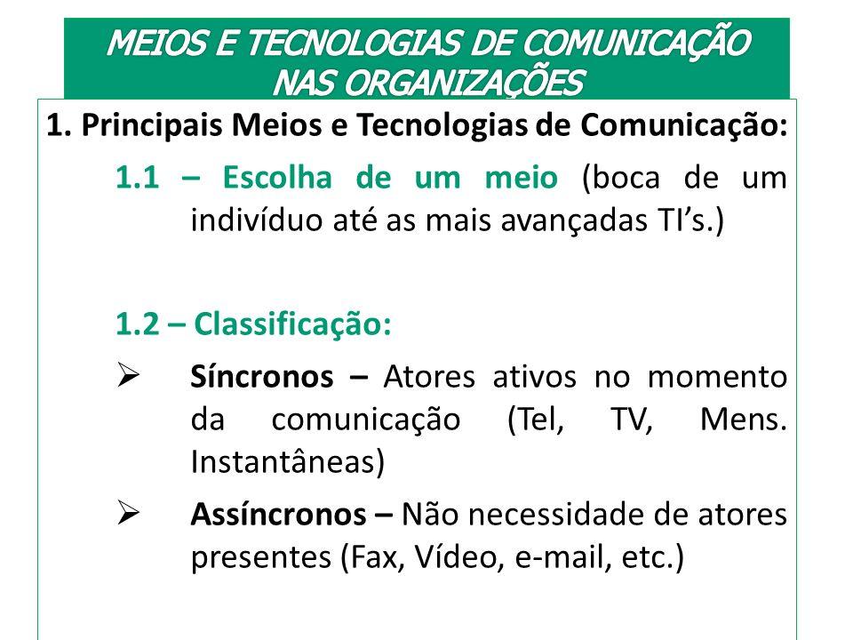 MEIOS E TECNOLOGIAS DE COMUNICAÇÃO NAS ORGANIZAÇÕES