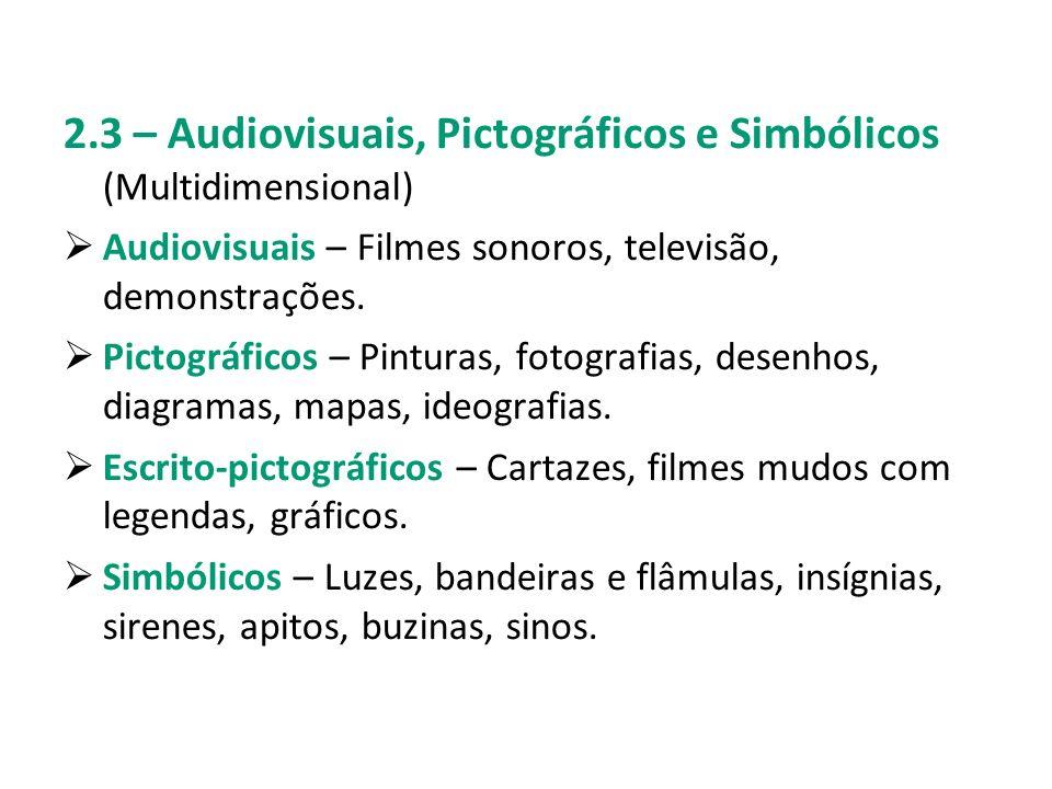 2.3 – Audiovisuais, Pictográficos e Simbólicos (Multidimensional)