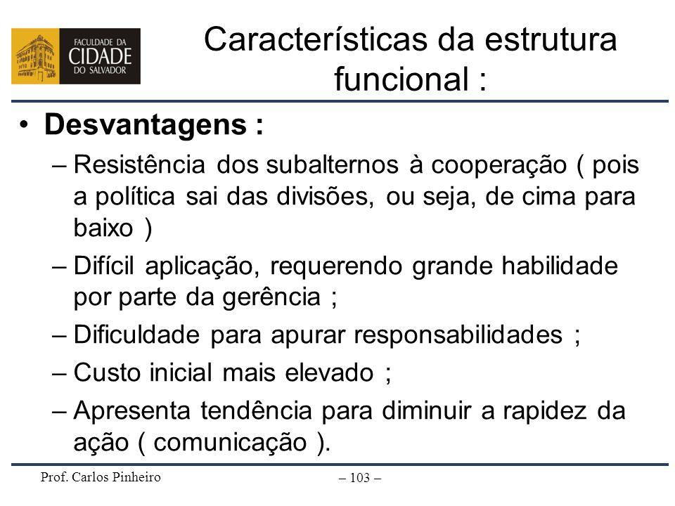 Características da estrutura funcional :