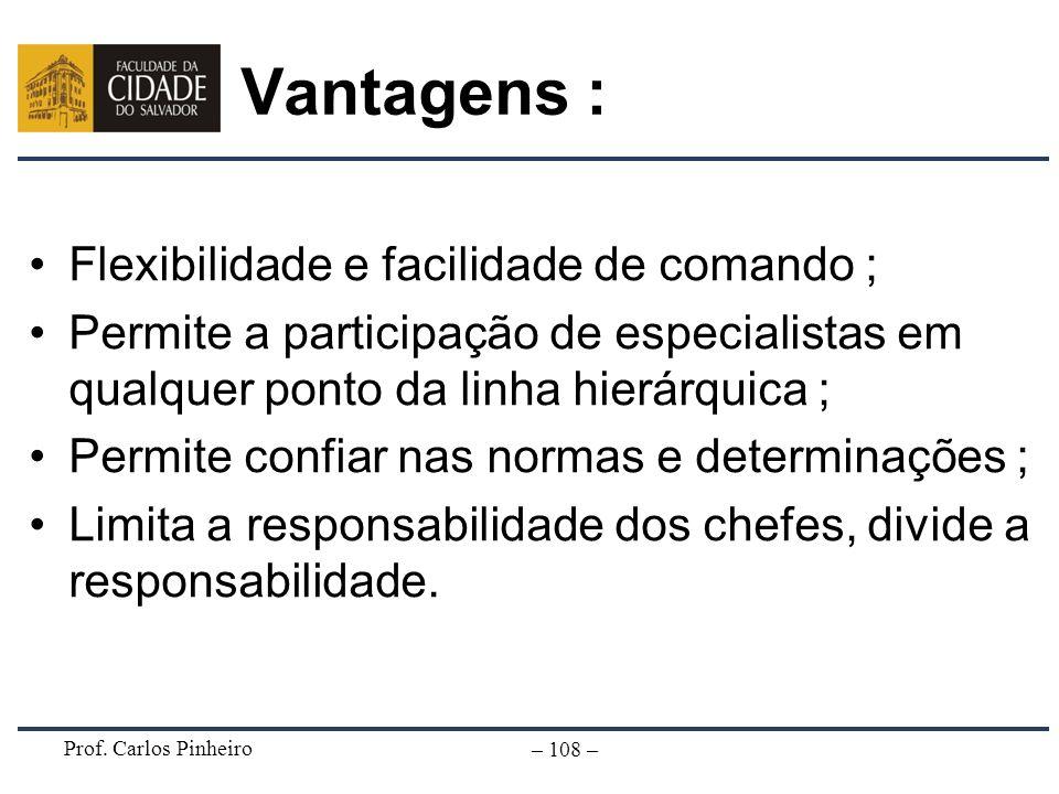 Vantagens : Flexibilidade e facilidade de comando ;