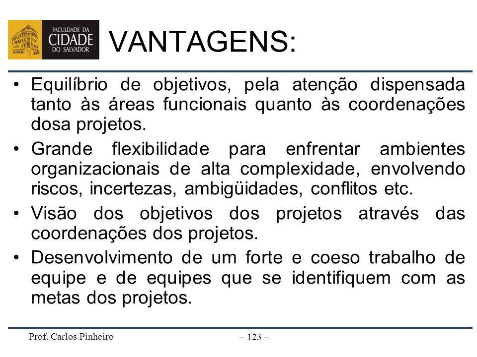 VANTAGENS: Equilíbrio de objetivos, pela atenção dispensada tanto às áreas funcionais quanto às coordenações dosa projetos.